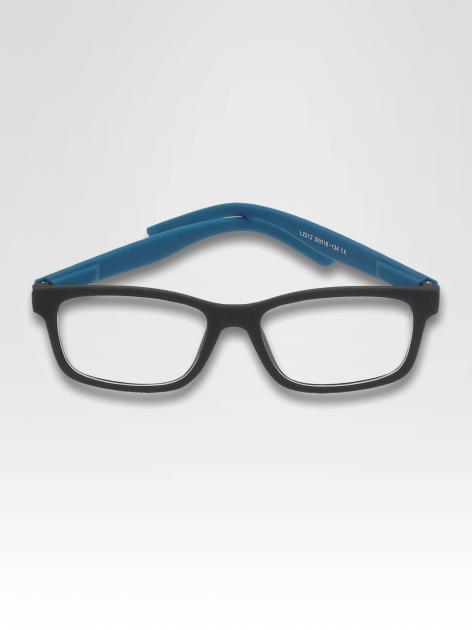 Niebiesko-czarne okulary zerówki kujonki typu WAYFARER NERDY matowe
