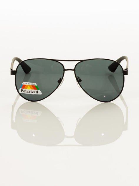 POLARYZACJA Czarne okulary pilotki z systemem FLEX na zausznikach dla kierowcy+GRATISY