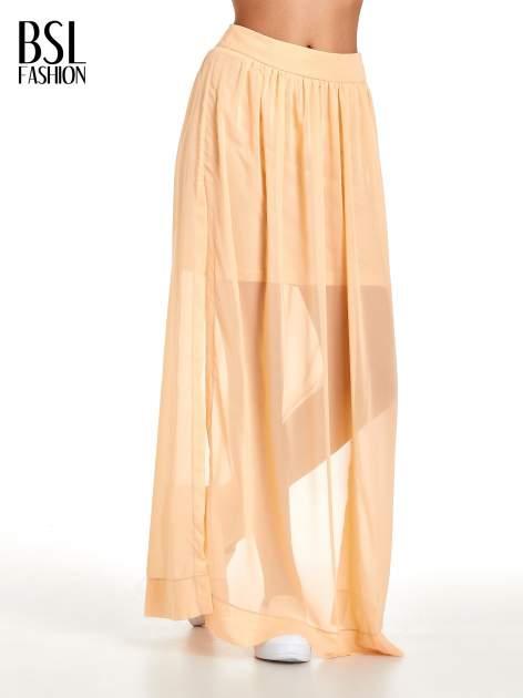 Pomarańczowa spódnica maxi transparentna