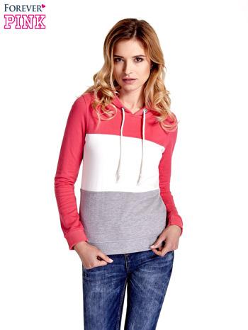 Różowa bluza z kapturem z białym i szarym wykończeniem
