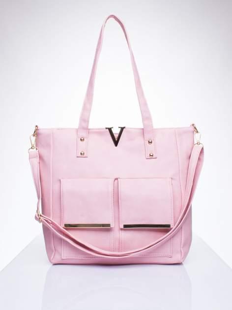 Różowa torba shopper bag ze kieszeniami na klapki