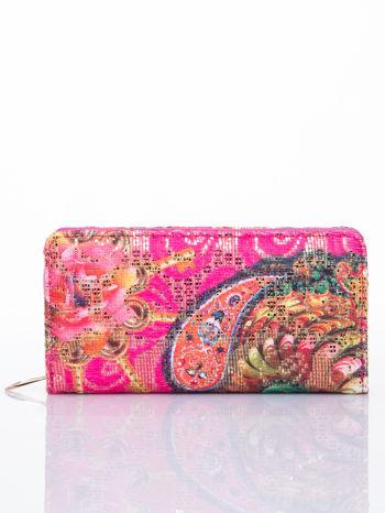 Różowy portfel z nadrukiem paisley
