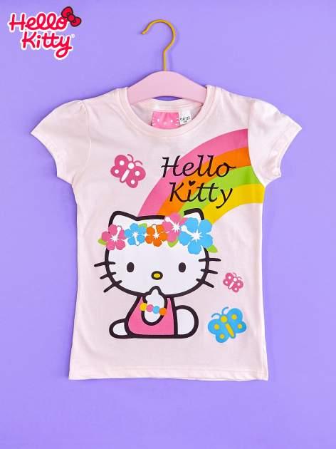Różowy t-shirt dla dziewczynki nadruk HELLO KITTY
