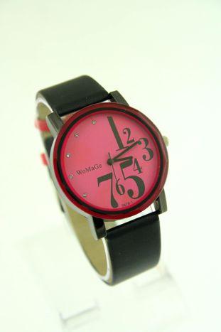 Różowy zegarek damski z cyrkoniami na pasku