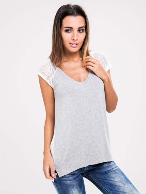 STRADIVARIUS Szary t-shirt z siateczkowymi rękawami