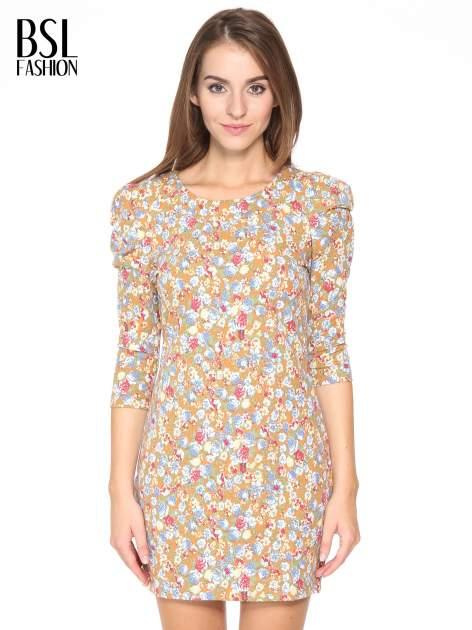 Sukienka w łączkę z marszczonymi rękawkami