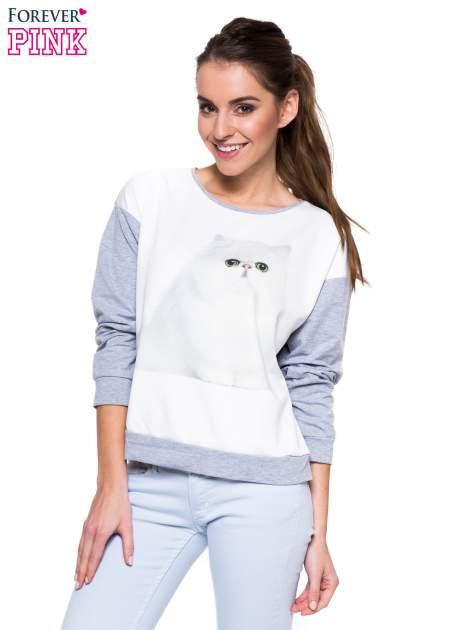 Szara melanżowa bluza dresowa z kotkiem