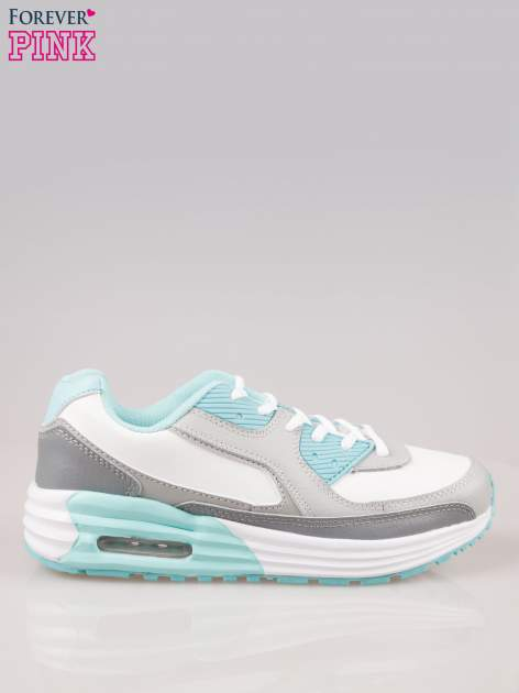 Szaro-niebieskie buty sportowe z poduszką powietrzną