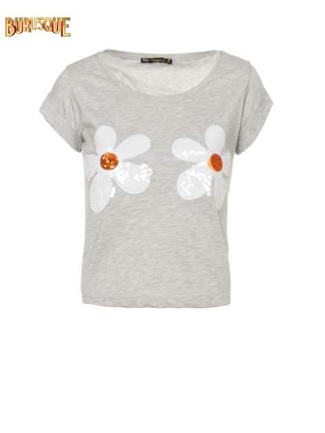 Szary krótki t-shirt z kwiatkami z cekinów