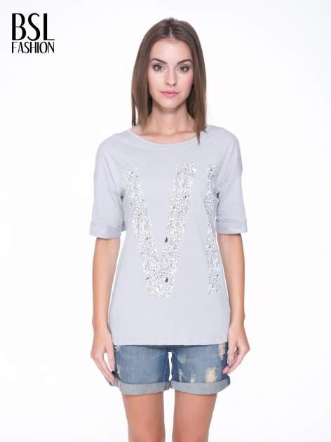 Szary t-shirt z nadukiem WIBE z przodu i na plecach