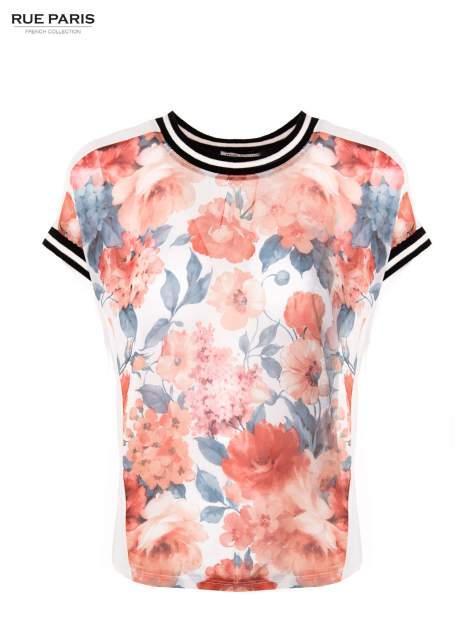 T-shirt w kwiatowy wzór ze sportową lamówką