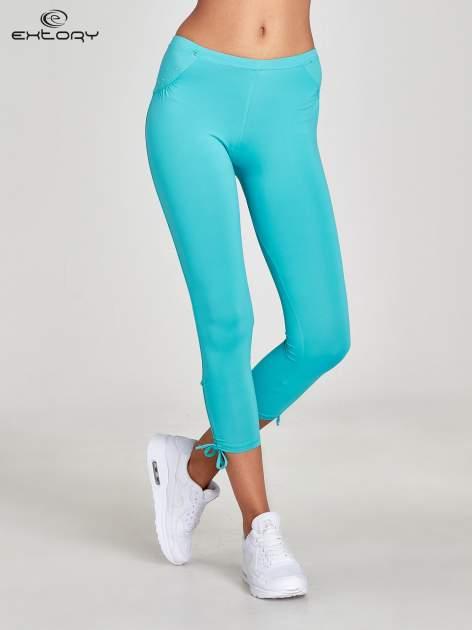 Turkusowe legginsy sportowe termalne z dżetami i ściągaczem