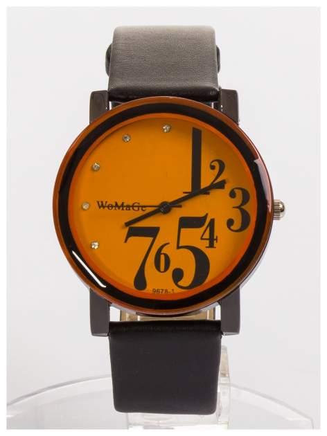 WoMaGe Pomarańczowy zegarek damski z cyrkoniami na skórzanym pasku