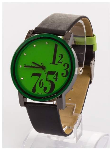 WoMaGe Zielony zegarek damski z cyrkoniami na skórzanym pasku