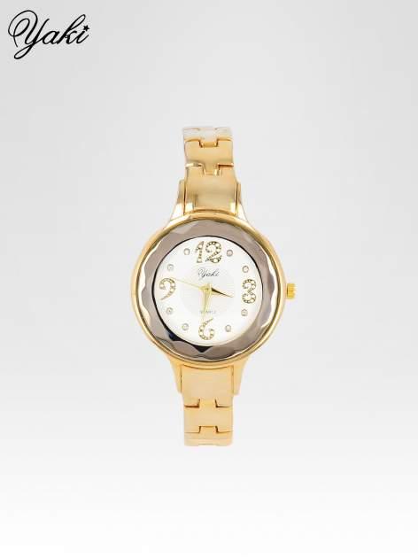 Zegarek damski na bransolecie z okrągłą kopertą z cyrkoniami w kolorze złota