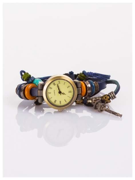 Zegarek damski na rzemyku z koralikami