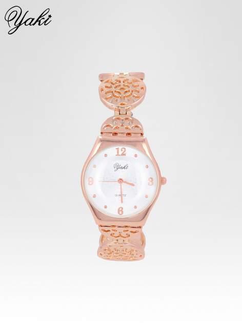 Zegarek damski z różowego na ażurowej bransolecie