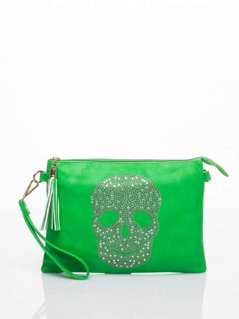Zielona kopertówka z dżetami motyw czaszki