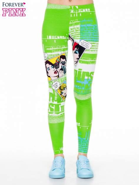 Zielone legginsy z nadrukiem komiksowym