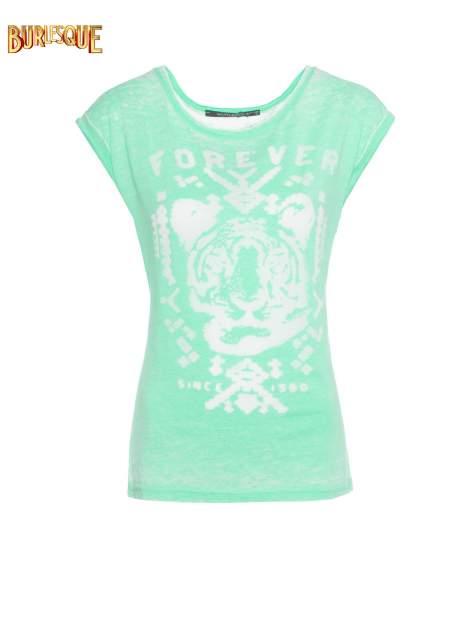 Zielony t-shirt z napisem FOREVER i nadrukiem tygrysa