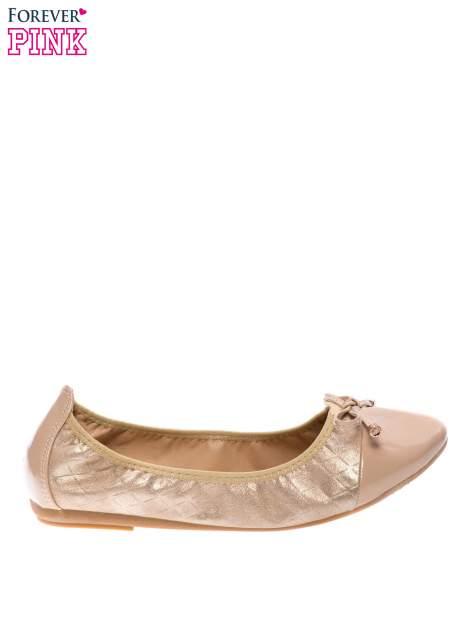 Złote pikowane baleriny na gumkę z lakierowanym noskiem