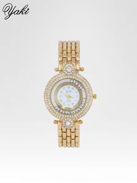 Złoty biżuteryjny zegarek damski z cyrkoniową kopertą