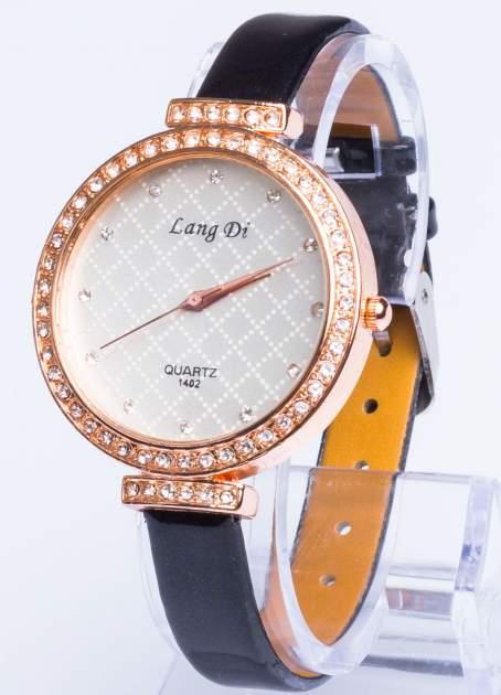 Złoty elegancki i delikatny zegarek damski z cyrkoniami