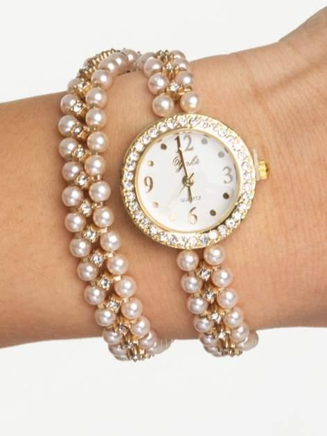 Złoty zegarek damski na podwójnej bransolecie z pereł