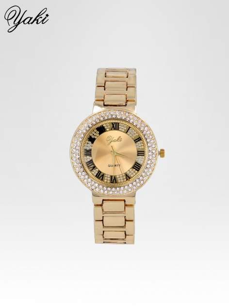 Złoty zegarek damski z bogato zdobioną tarczą cyrkoniami