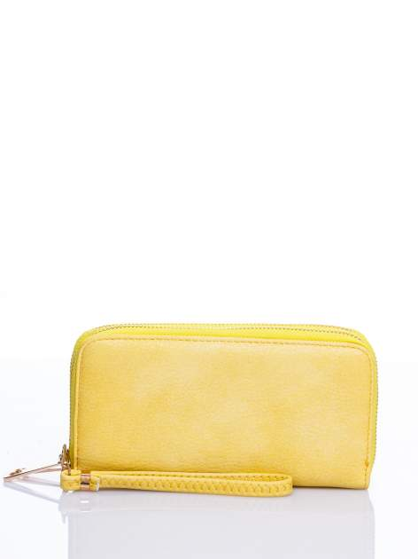 Żółty matowy portfel z rączką