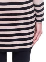Beżowo-czarny pasiasty otwarty sweter kardigan z prążkowanym kołnierzem