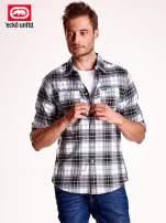 Biało-szara koszula męska motyw kratki