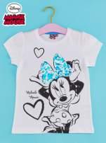 Biały t-shirt dla dziewczynki z cekinami MYSZKA MIKI