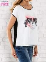 Biały t-shirt z nadrukiem słoni