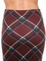 Bordowa wełniana ołówkowa spódnica w romby
