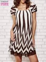 Brązowa sukienka w paski z bufiastymi rękawkami