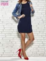 Ciemnogranatowa sukienka z rozporkami po bokach