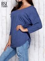 Ciemnoniebieska melanżowa bluzka z dekoltem na plecach