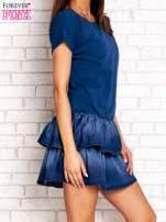 Ciemnoniebieska sukienka dresowa z jeansowym dołem