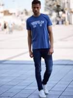 Ciemnoniebieski t-shirt męski z napisami BROOKLYN NEW YORK SPIRIT 86
