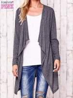 Ciemnoszary melanżowy sweter w drobne prążki