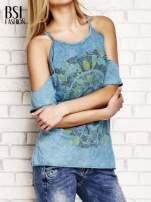 Ciemnoturkusowy t-shirt cut out shoulder z azteckim nadrukiem
