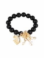 Czarna Bransoletka koralikowa z bogatą zawieszką