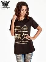 Czarna bluza glamour ze złotymi znakami japońskimi