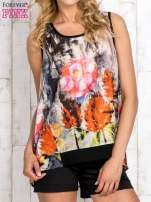 Czarna bluzka koszulowa w malarskie desenie