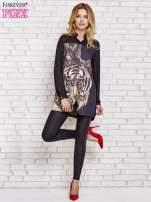 Czarna długa koszula z nadrukiem tygrysa