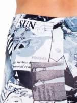 Czarne legginsy z nadrukiem magazines print
