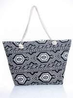 Czarno-biała torba plażowa w azteckie wzory
