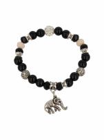 Czarno  - srebrna Bransoletka koralikowa
