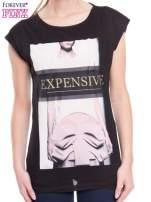 Czarny t-shirt z nadrukiem modowym i złotym napisem EXPENSIVE
